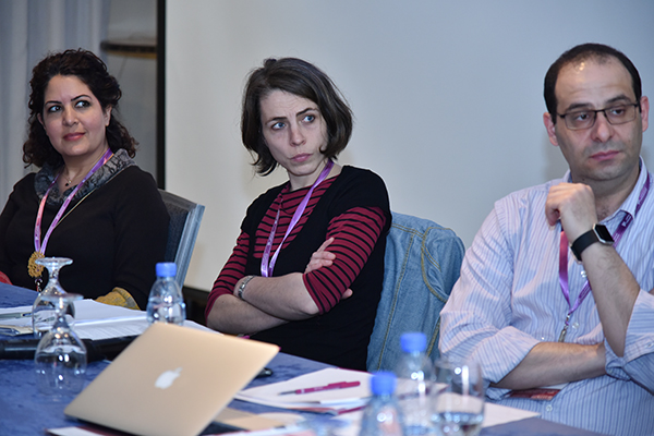 Rania Al-Masri, Coralie Hindawi and Omar Dahi at the roundtable on Critical Security Studies in the Arab World-Third ACSS Conference